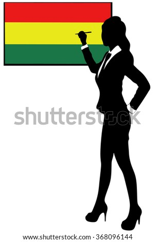 businesswoman in office pointing on board, bolivia flag