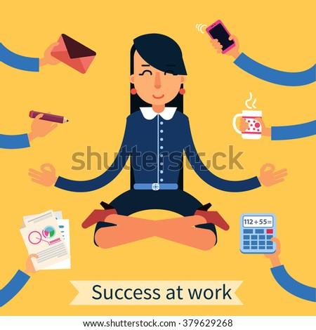 Businesswoman in Yoga Pose Searching the Balance at Multitasking Work. Vector illustration in flat style - stock vector