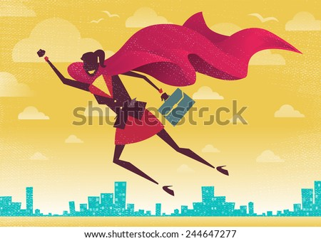 Businesswoman is a Superhero. Businesswoman flies off to rescue another business deal that is need of her super powers.