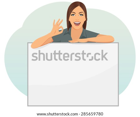 Businesswoman is standing behind a blank copy space and show OK sign - stock vector