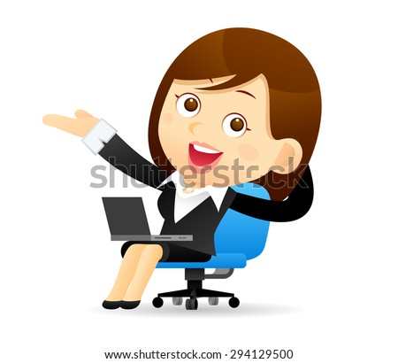 Businesswoman & laptop - stock vector