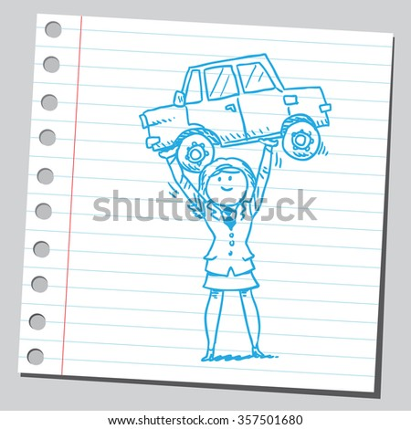 Businesswoman lifting and holding car - stock vector