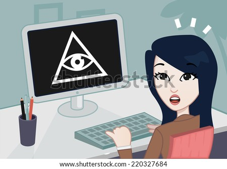 businesswoman looking at the camera + Illuminati sign in the computer - stock vector