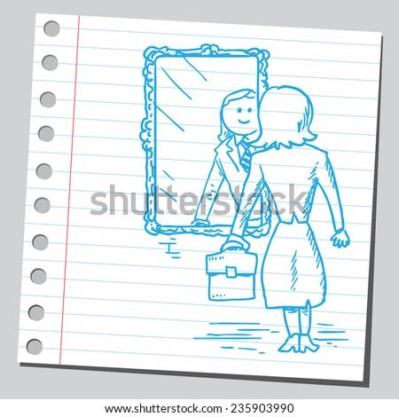 Businesswoman looking herself in mirror - stock vector