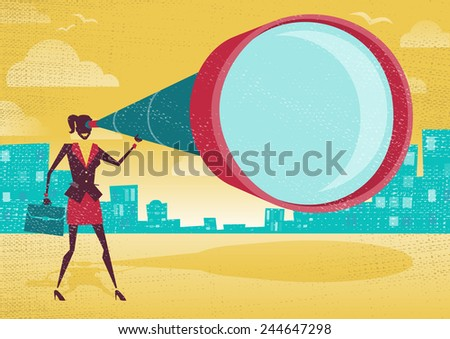 Businesswoman looks through her Telescope. Great illustration of Retro styled Businesswoman who's getting a really great view of the business landscape with her gigantic telescope. - stock vector