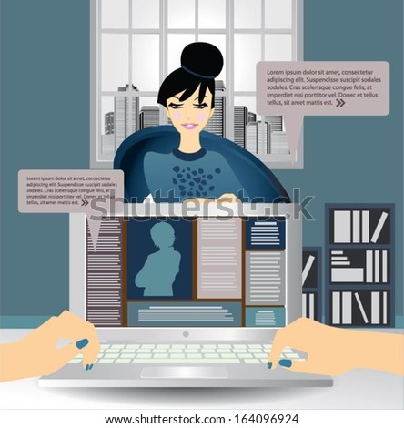 Businesswoman on a job interview. - stock vector