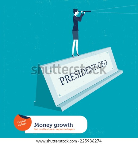 Businesswoman on a name plate president. Vector illustration Eps10 file. Global colors. Text and Texture in separate layers. - stock vector