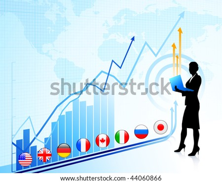 Businesswoman on chart background with Graph Original Vector Illustration - stock vector