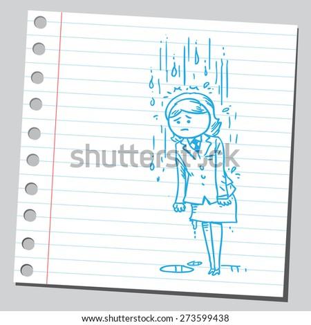 Businesswoman on rain - stock vector