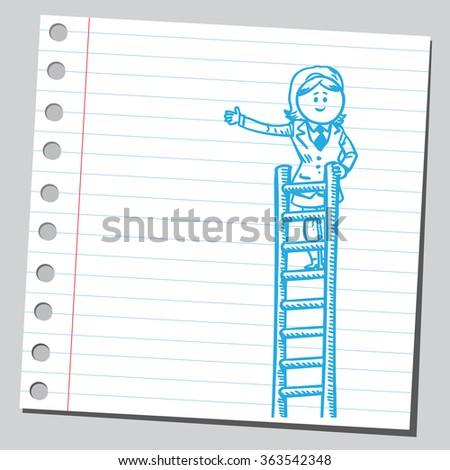 Businesswoman on top of ladders - stock vector