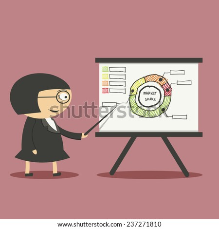 businesswoman pointing at a board at a presentation - stock vector