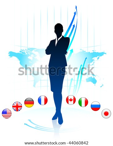 Businesswoman Presenting World Chart Original Vector Illustration - stock vector