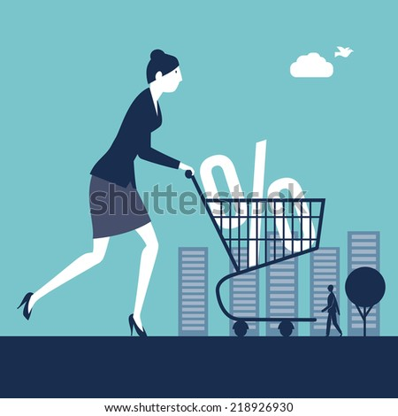 Businesswoman pushing a shopping cart with a percentage sign - stock vector