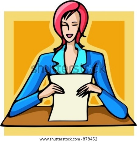 Businesswoman reading a document. Check my portfolio for many more images of this series.