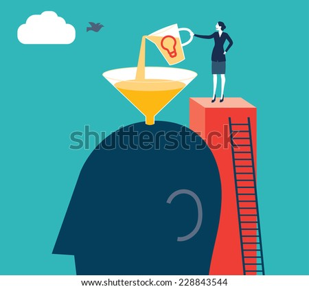 Businesswoman refilling a brain. - stock vector