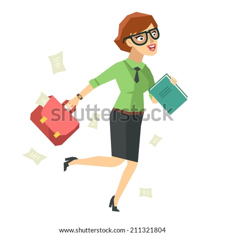 Businesswoman running in a hurry holding briefcase and papers, business concept in very busy or a lot of work to do.Vector character in flat style