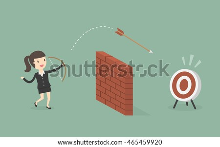 Businesswoman Shoot Arrow Over The Wall To The Target. Business Concept Cartoon Illustration.