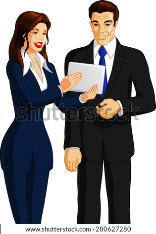 Businesswoman showing a tablet to her boss. - stock vector