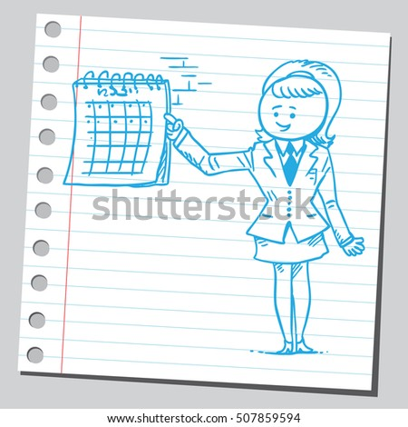 Businesswoman showing on calendar