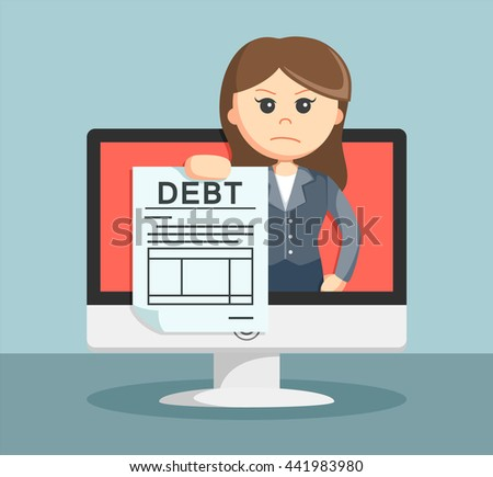 businesswoman shows on the monitor debt to its customers - stock vector