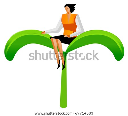 businesswoman sit on green plant - stock vector