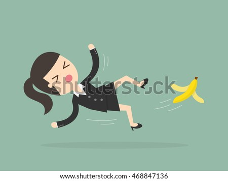 Businesswoman Slipping On Banana Peel Business Stock ...