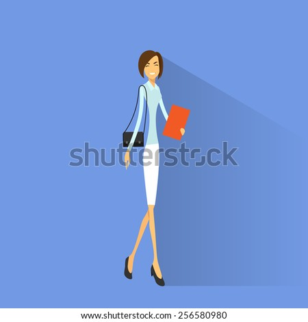 Businesswoman smile, full length business woman flat icon vector illustration - stock vector