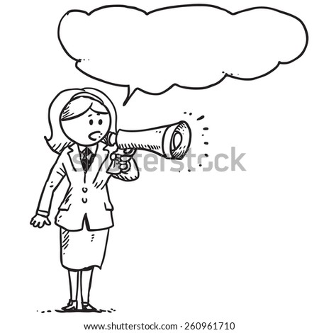 Businesswoman speaking in to megaphone - stock vector