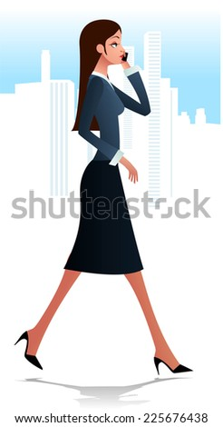 Businesswoman speaking on the cellphone, while walking in the city. - stock vector