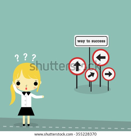 "businesswoman stand on the road with ""way to success"" sign board on bule background."