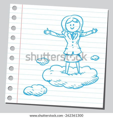 Businesswoman  standing on clouds - stock vector