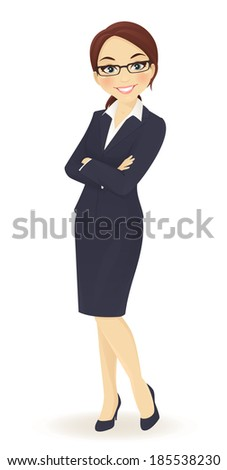 Businesswoman standing with arms crossed - stock vector
