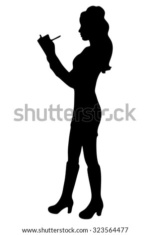 businesswoman standing with clipboard and pencil isolated on a white background