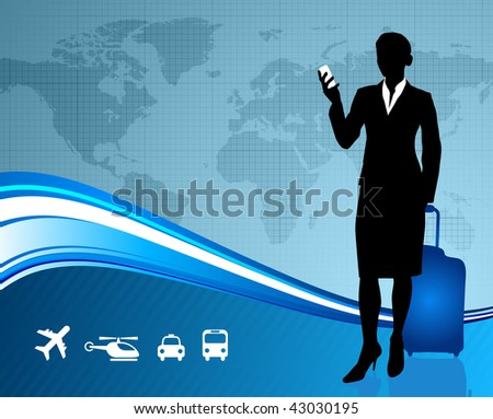 businesswoman traveler with world map Original Vector Illustration
