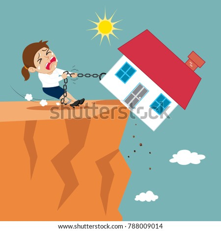 Businesswoman  try to keep house hanging on rope, illustration vector cartoon