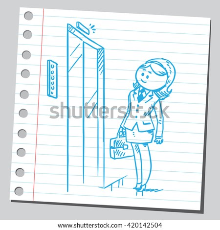 Businesswoman waiting for elevator - stock vector