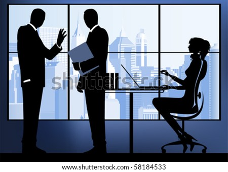 Businesswoman with colleagues in the urban background. All elements and textures are individual objects. Vector illustration scale to any size. - stock vector