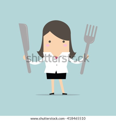 Businesswoman with fork and knife vector - stock vector