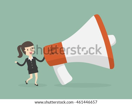 Businesswoman With Megaphone. Marketing Concept. Business Concept Illustration.