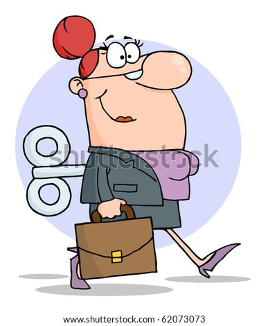 Businesswoman With Wind-up Key In His Back - stock vector
