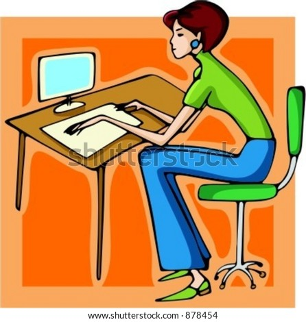 Businesswoman working with a computer. - stock vector