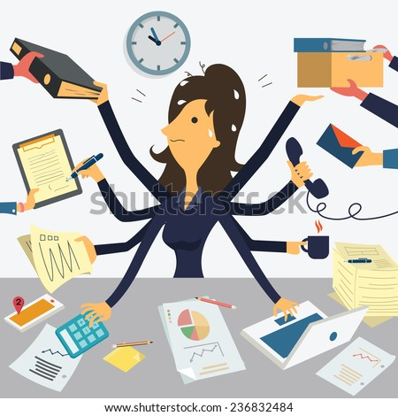 Businesswoman working with eight hands, representing to very busy business concept.  - stock vector
