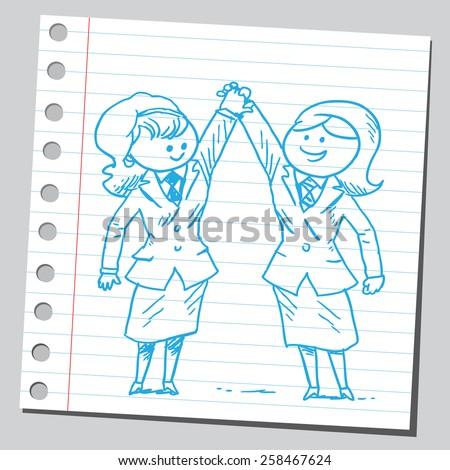 Businesswomen partners - stock vector