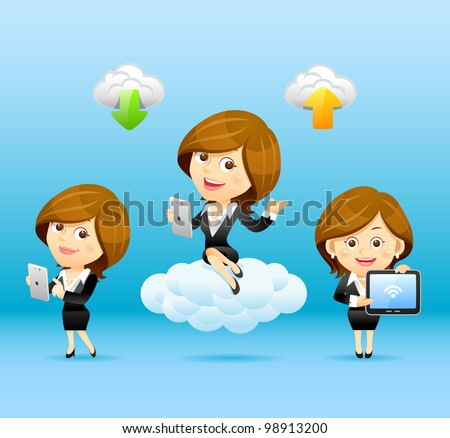 Businesswomen,Tablet PC,Cloud computing Set - stock vector