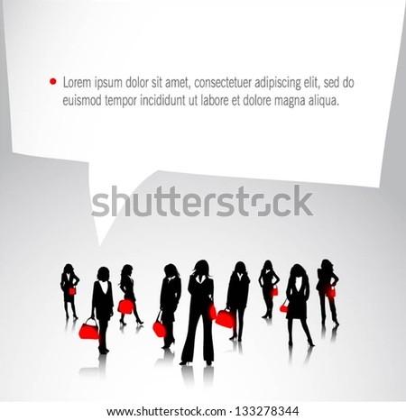 Businesswomen team with speech bubble-vector illustration - stock vector