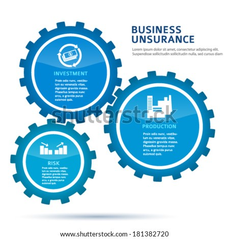 Businness insurance vector illustration EPS 10. Abstract background for chart process service the insurance company / for stages new business: investment, implementation, manufacturing, financial risk - stock vector