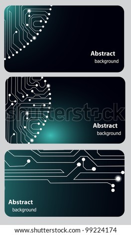 Busitess card templates with Circuit board - stock vector