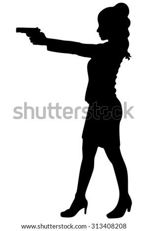 bussineswoman aiming gun - stock vector
