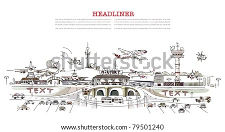 Busy airport - stock vector