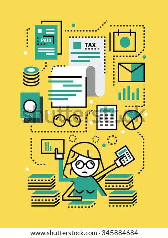 Busy Business woman with Tax documents. Tax concept. flat line icons design. vector illustration - stock vector